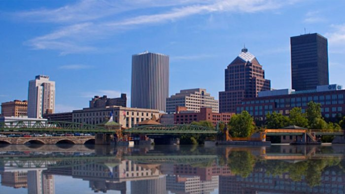 Photo of the Rochester city skyline.