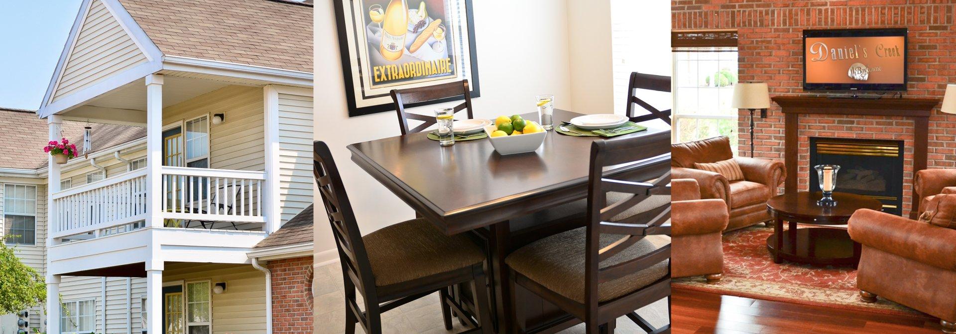 Collage of Daniel's Creek (Exterior, Interior Dinning Table, Interior Living Room)